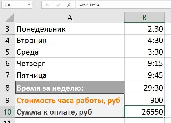 Учет рабочих часов в Excel