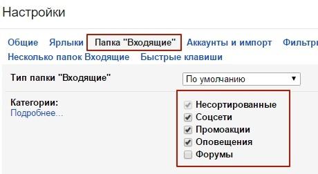 Категории писем gmail