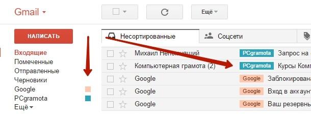 Использование цветных ярлыков gmail