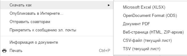 Сохранить Таблицы Google в формате Excel