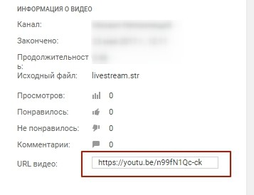 Запись прямой трансляции youtube